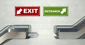 Moving escalator stairs, entrance exit sign Stock Photography