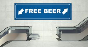 Moving escalator stairs, free beer sign Stock Photos
