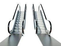 Moving escalator stairs isolated on white Royalty Free Stock Photography