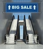 Moving escalator stairs in mall, big sale sign. Moving escalator stairs in modern mall, big sale sign Royalty Free Stock Photo