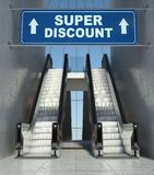 Moving escalator stairs in mall, super discount sign. Moving escalator stairs in modern mall, super discount sign Stock Images