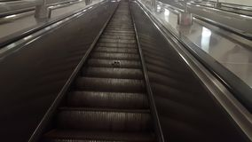 Moving Escalator Stairs in Moscow Subway stock video