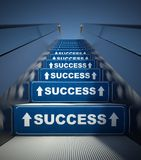 Moving escalator stairs to success, concept. Ion Royalty Free Stock Image