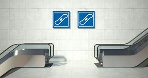 Moving escalator stairs, up down sign Royalty Free Stock Images