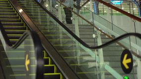 Moving Escalator Up, Mecanic, Electric, Stair and Escalators in a Public Area. 4K.  stock footage
