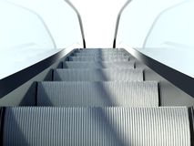 Moving escalators stairs, modern office building Royalty Free Stock Photo