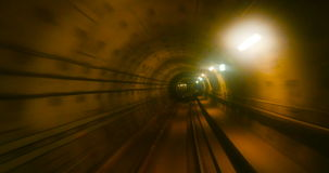Moving fast in subway tunnel stock video