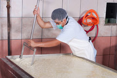 Moving fermenting milk Royalty Free Stock Image