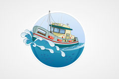 Moving fishing boat. Deep sea with wave. Round vector computer icons for applications or games. Logo and emblem template. Handdraw Stock Images