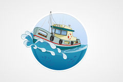 Moving fishing boat. Deep sea with wave. Round vector computer icons for applications or games. Logo and emblem template. Handdraw Royalty Free Stock Photos