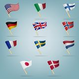 Moving flags set. Vector illustration Royalty Free Stock Images