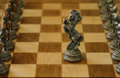 Moving Forward. A knight, alone in the middle of the chess board, advances to meet the opposition Stock Image