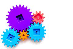 Moving forward concept with gears. Right decision and correct solution. white desk background top view mockup Stock Image