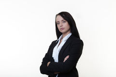 Moving forwards in work. Business woman standing ready for anything you can throw at her royalty free stock images