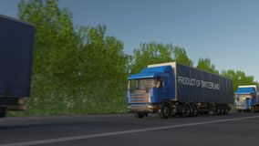 Moving freight semi trucks with PRODUCT OF SWITZERLAND caption on the trailer. Road cargo transportation. Seamless loop 4K clip stock footage