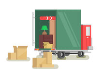 Moving furniture loading. Transportation box and relocation, loading and delivery. Vector illustration Stock Images
