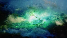 Moving galaxy with dust and stars, futuristic environment for relaxation and meditation. Digital composition, elements of this ima