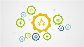 Moving gears mechanism and social icons video animation stock video footage