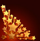 Moving golden stars on brown background Stock Images