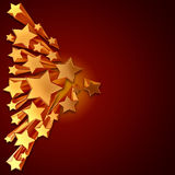 Moving golden stars on brown background Stock Photo