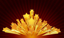 Moving golden stars on brown background Royalty Free Stock Images