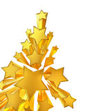 Moving golden stars on white background Stock Photo