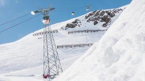 Moving Gondolas Switzerland Mountains Laax Timelapse 4k. 4k timelapse of moving gondolas in LAAX, Switzerland stock footage