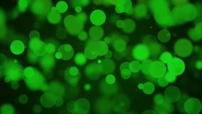 Moving green particles background with bokeh seamless loop animation vector illustration