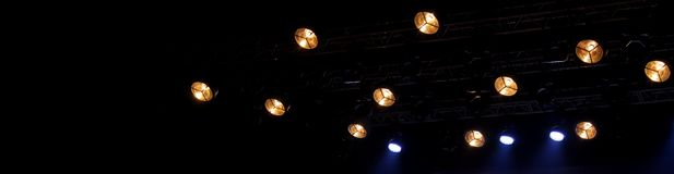 Moving heads and another modern stage light equipment royalty free stock image