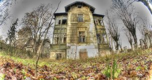 Fisheye recording of a Haunted House stock video footage