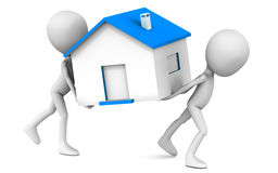 Moving home. Moving house concept, two 3d men moving a house model with blue roof, on white background, movers and packers service illustration Royalty Free Stock Photo