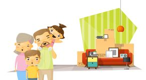 Moving home concept background with happy family and furniture in new living room Royalty Free Stock Images