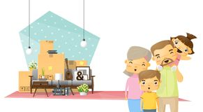 Moving home concept background with happy family and furniture in new living room Royalty Free Stock Image