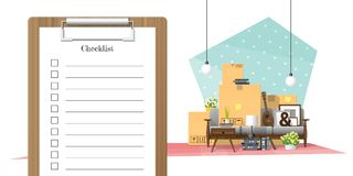 Moving home concept with survey clipboard and pile of furniture background. Vector , illustration Royalty Free Stock Image