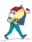 Moving home. Man with house on his back walking Royalty Free Stock Photos
