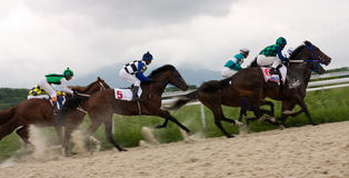 Moving of horse racing Stock Images