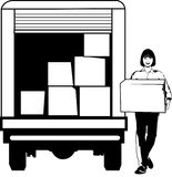 Moving house. Self hire van for moving house contents Royalty Free Stock Image