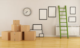 Moving house. Home interior with cardboard boxes ladder and empty frame-rendering Stock Photography