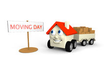 Moving house. Happy little house on wheels is its moving day Royalty Free Stock Image