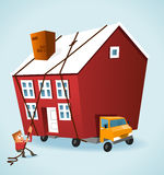 Moving House. With a truck.  illustration Stock Images