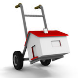 Moving house. Moving home on a handcart, concept of moving and packing up for another place to live Royalty Free Stock Images