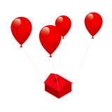 Moving House. Concept of moving house and balloons Royalty Free Stock Photos
