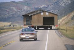 Moving a house along Route 89 in Utah Stock Images