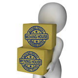 Moving House Boxes Show New Property. Moving House Boxes Showing New Property And Relocation Stock Photo