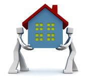 Moving house concept. 2 man carrying a house shifting to new place front view Royalty Free Stock Photo