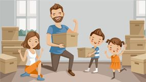 Moving house. Family moving packing and unpacking boxes, husband and wife, son, daughter, celebrating or exhausted at the end of packing. cartoon character Stock Image