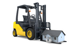Moving house with forklift Royalty Free Stock Photos