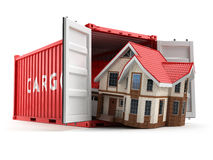 Moving house. Home and cargo shipping container  on whit Stock Image