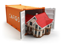 Moving house. Home and cargo shipping container on white Royalty Free Stock Photos