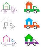 Moving house. Illustration of moving house with a truck Royalty Free Stock Images